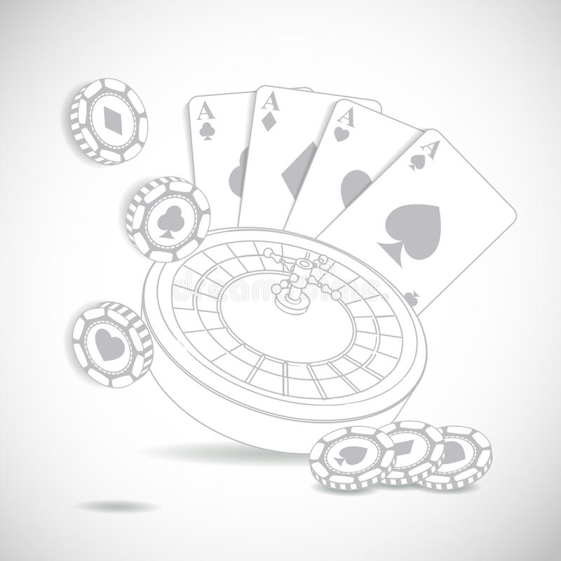 Casino composition with roulette wheel. Casino gray composition with roulette wheel on white background royalty free illustration