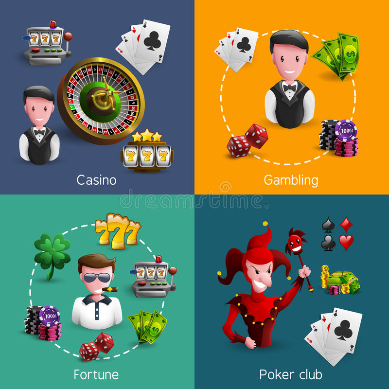 Casino 2x2 Compositions Set. Small square 2x2 banners set of specific casino caracters with few spatial icons each cartoon vector illustration stock illustration