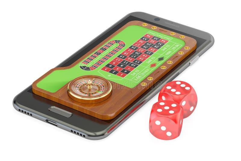 Casino, conceito em linha do jogo na tela do smartphone, rendição 3D ilustração do vetor