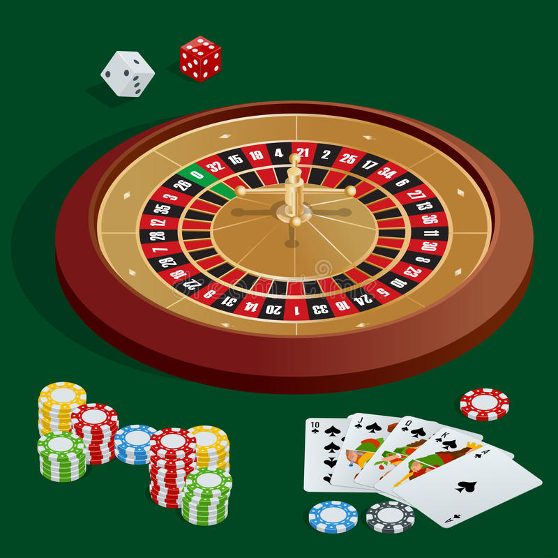 Casino concept. Casino background with cards, chips, craps and roulette. Flat 3d vector isometric illustration vector illustration