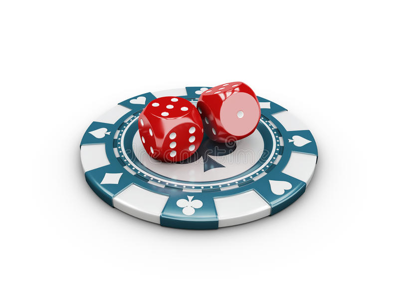 Casino Concept Dice and Chips. 3d Illustration. Casino Concept Dice and Chips, 3d Illustration royalty free illustration