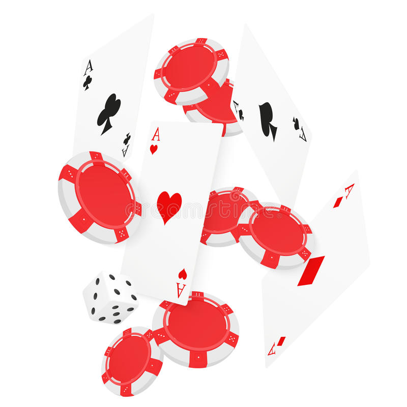Casino Concept Floating Cards and Chips. Casino poker design template. Falling poker cards and chips game background vector illustration