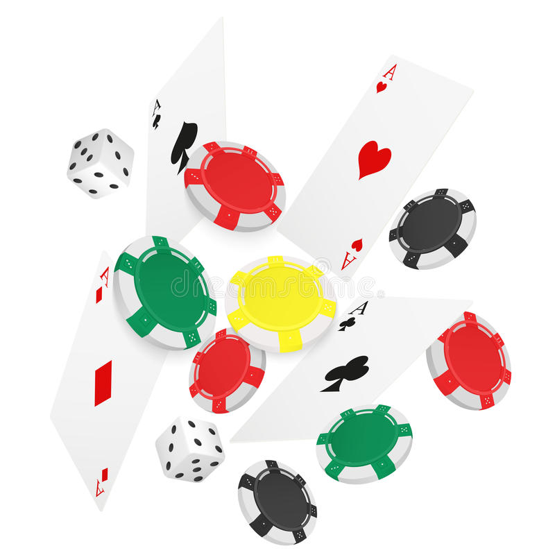 Casino Concept Floating Cards and Chips. Casino poker design template. Falling poker cards and chips game lucky background royalty free illustration