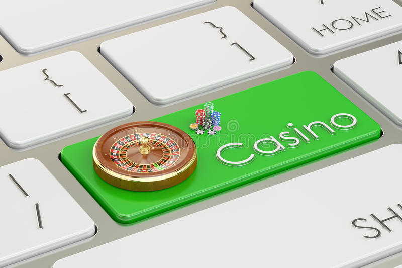 Casino concept on keyboard button, 3D rendering. Casino concept on keyboard button royalty free illustration