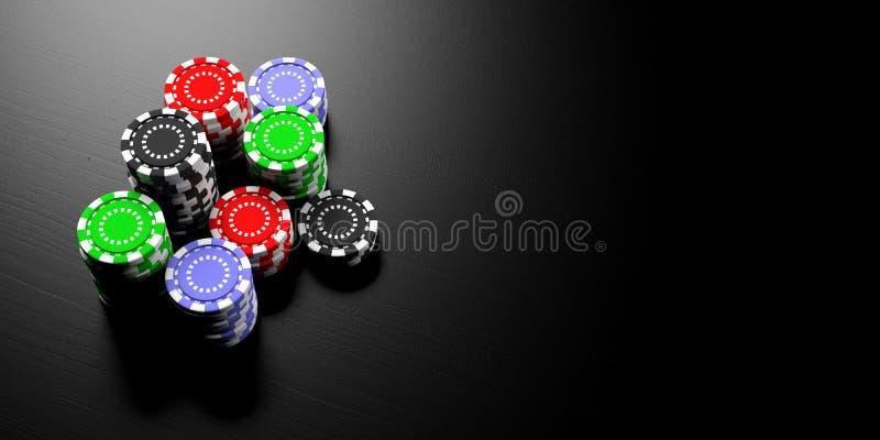 Casino concept. Poker chips stacks on black background, banner, copy space. 3d illustration. Casino concept. Poker chips stacks on black wooden background stock illustration