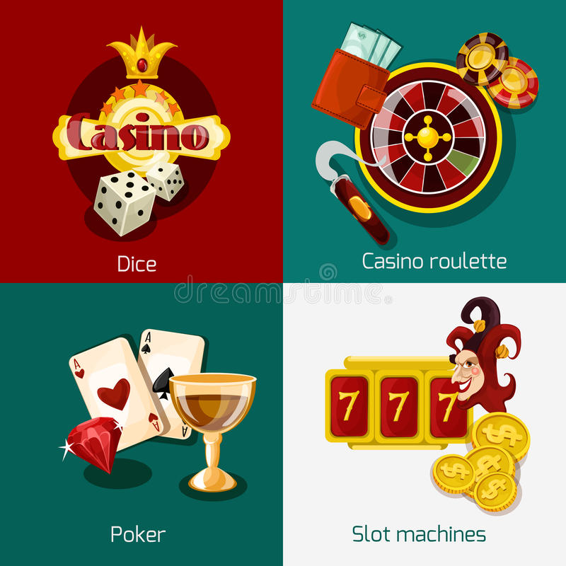 Casino Concept Set. Casino design concept set with dice roulette poker slot machine icons isolated vector illustration vector illustration