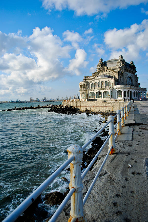 Casino Constanta. The deserted casino in Constanta is famous for the architectural style royalty free stock photography