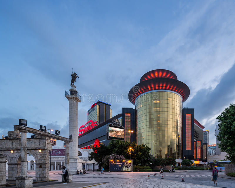 Casino das areias em Macau que evenening tarde foto de stock