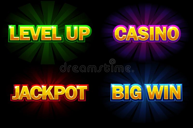 Casino de brilho do texto do vetor, jackpot, vitória grande e nível acima Ícones para o casino, os entalhes, a roleta e o jogo UI ilustração stock