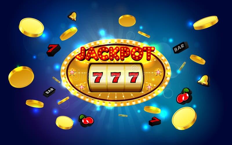 Casino de oro de la máquina tragaperras de los triunfos afortunados del bote con el fondo ligero stock de ilustración