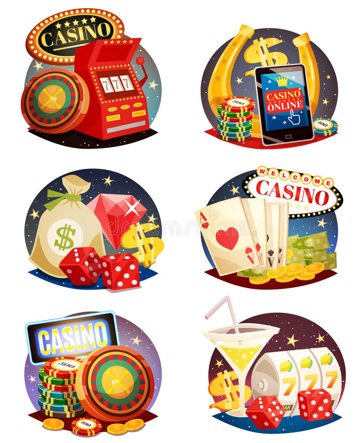 Casino Decorative Compositions Set. Casino decorative compositions isometric design elements with slot machine playing cards roulette and chips isolated vector vector illustration