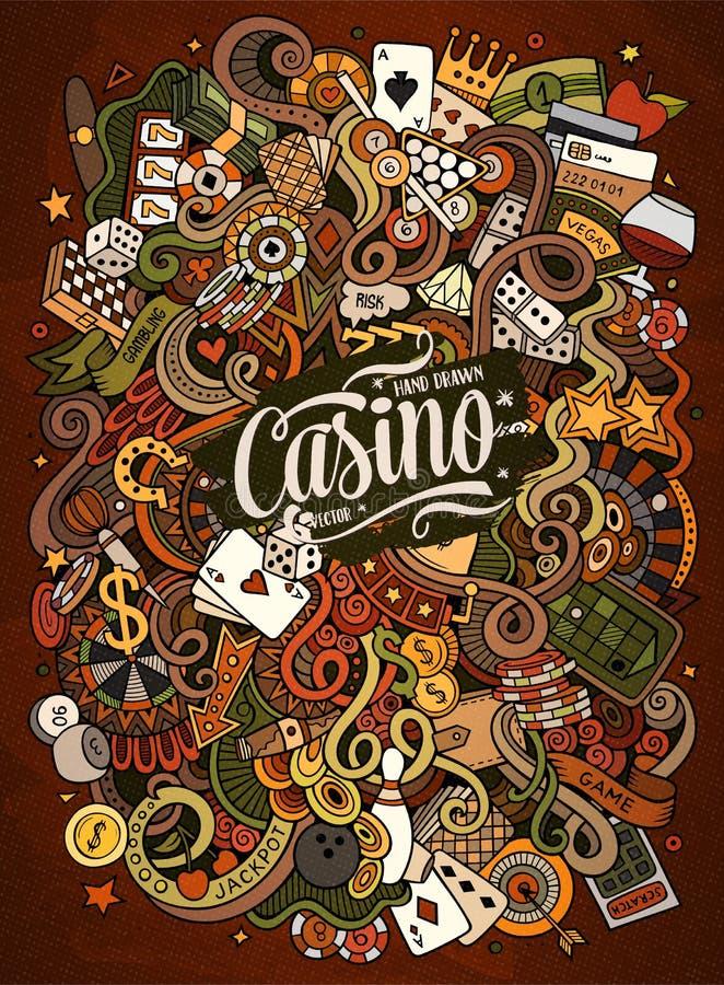 Casino desenhado à mão das garatujas dos desenhos animados, ilustração de jogo ilustração stock