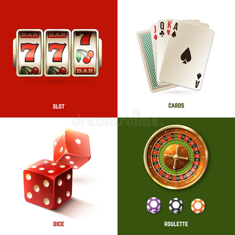 Casino Design Concept. Set with realistic slot cards dice and roulette isolated vector illustration stock illustration