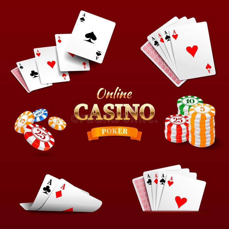 Casino design elements poker chips, playing cards and craps. Poker emblem. Vector illustration eps 10 stock illustration