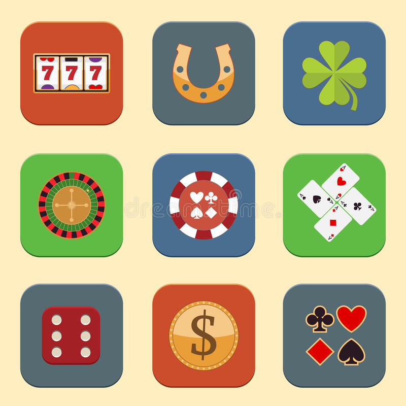 Casino Design Icons. Casino color design elements with gambling poker roulette icons set isolated vector illustration stock illustration