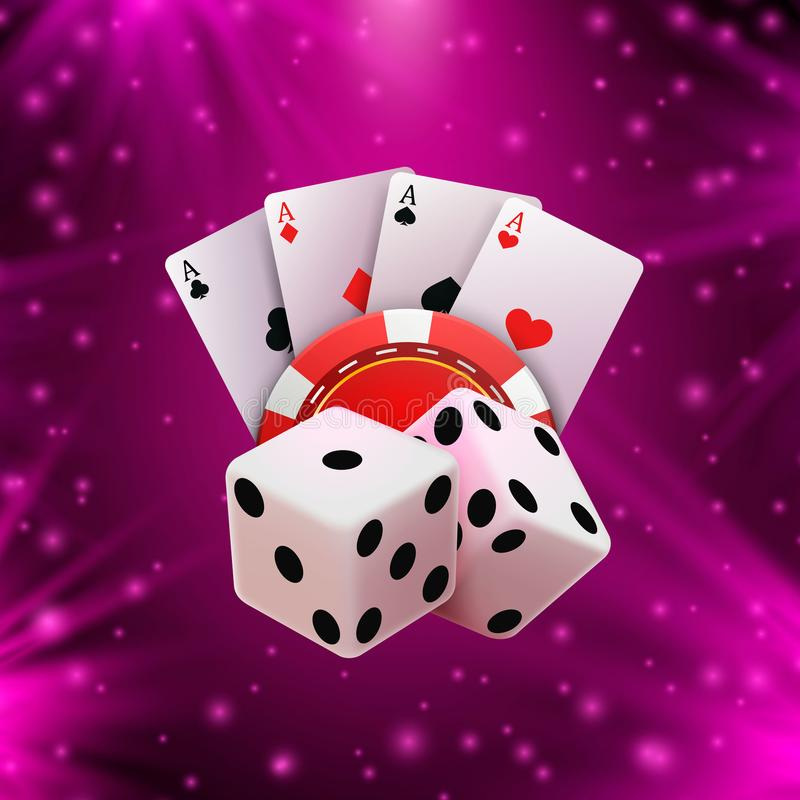 Casino dice banner signboard on background. royalty free illustration