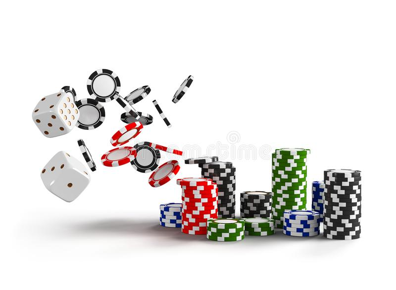 Casino dice and chips isolated on white background. Online casino concept with place for text. Falling poker chips. 3d. Rendering stock illustration