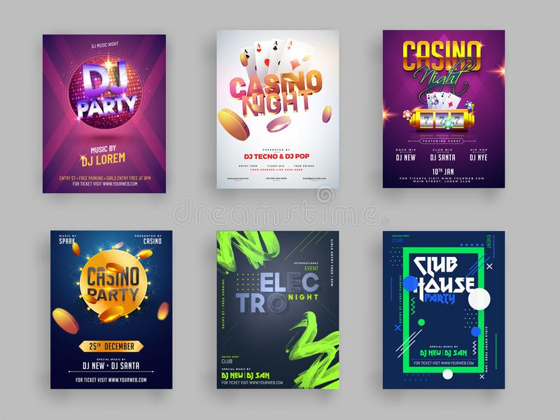 Casino, DJ and Musical Party flyer or template collection in six vector illustration