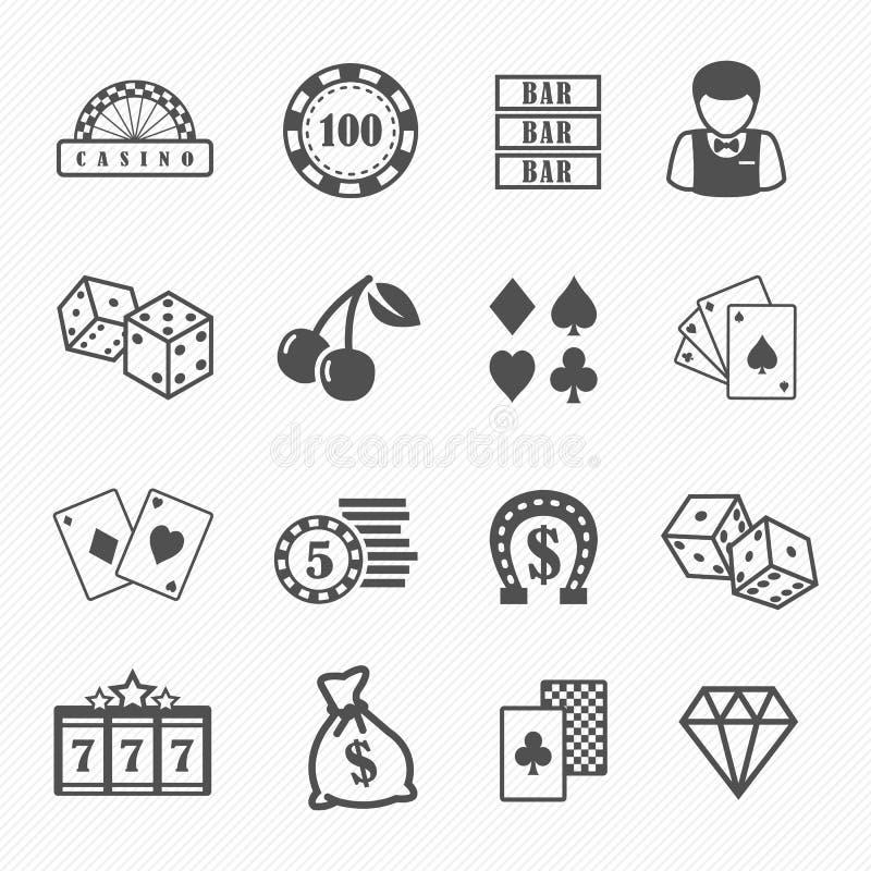 Casino e ícones de jogo ajustados ilustração royalty free