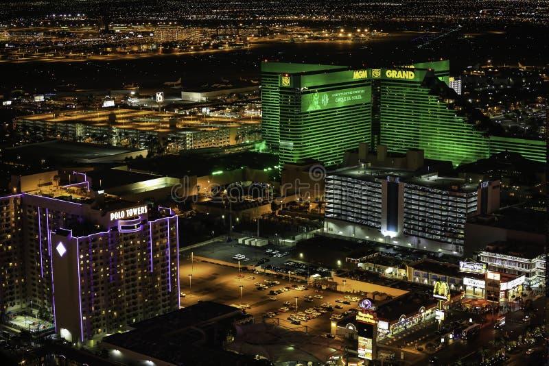 Casino e hotel de Mgm Grand na noite fotografia de stock royalty free