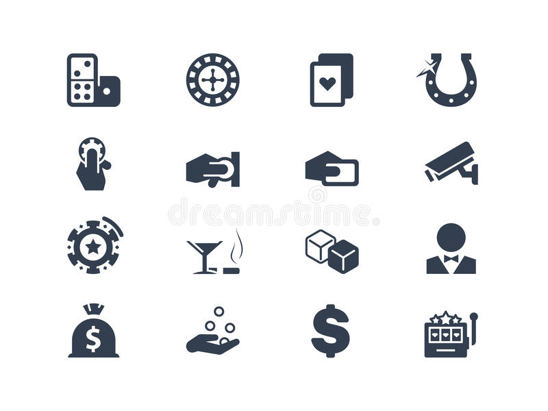Casino e iconos de juego stock de ilustración