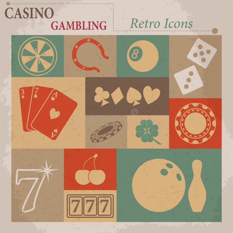 Casino e iconos retros planos de juego del vector stock de ilustración