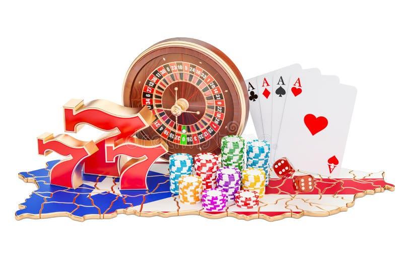 Casino e indústria de jogo no conceito de Porto Rico, renderin 3D ilustração stock