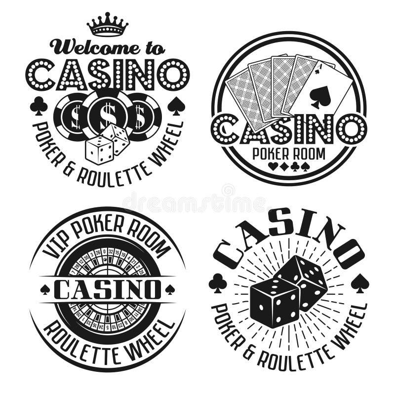 Casino e jogo de quatro emblemas pretos do vetor ilustração do vetor