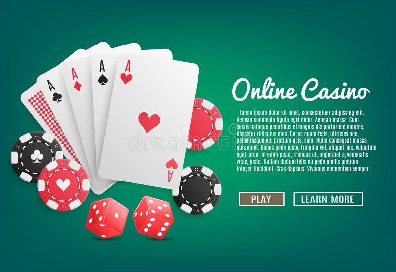 Casino em linha realístico ilustração stock
