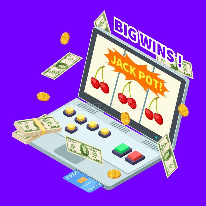 Casino em linha, vitória do jackpot, cédulas, moedas e cartão de crédito na ilustração isométrica do vetor do portátil ilustração do vetor