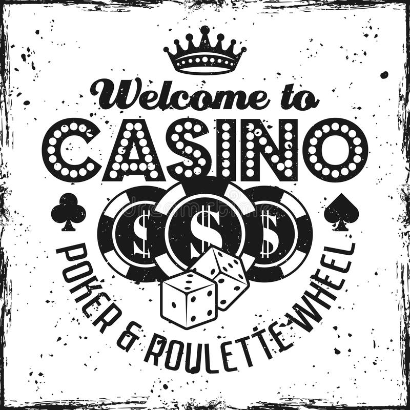 Casino vector black emblem with chips and dice. Casino emblem with chips and dice on textured background vector illustration royalty free illustration