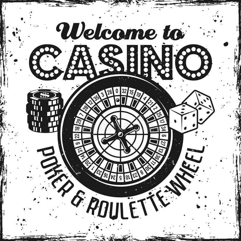 Casino emblem with roulette wheel, dice, chips. Casino emblem with roulette wheel on textured background vector illustration vector illustration