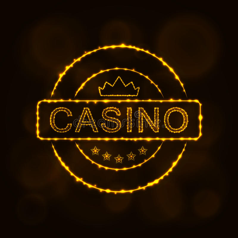 Casino emblem silhouette of lights. Casino icon. Casino emblem symbol lights silhouette design on dark background. Vector illustration. Glowing Lines and Points vector illustration