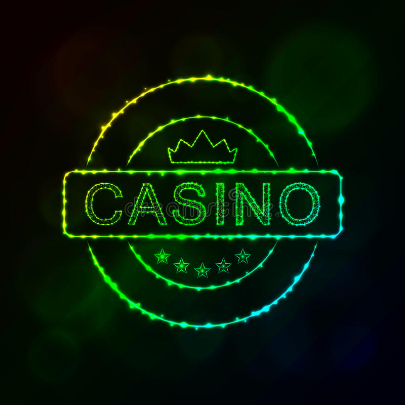 Casino emblem silhouette of lights. Casino icon. Casino emblem symbol lights silhouette design on dark background. Vector illustration. Glowing Lines and Points royalty free illustration