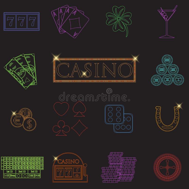 Casino en het gokken de lijnpictogrammen met gokautomaat en roulette, spaanders, pookkaarten, geld worden geplaatst, dobbelen, mu stock illustratie