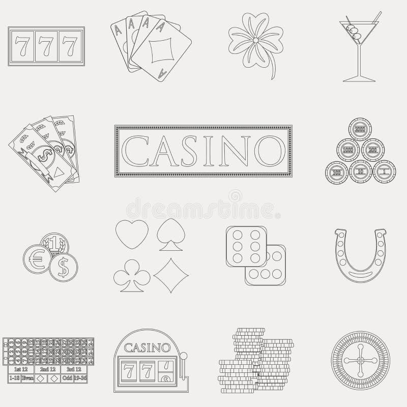 Casino en het gokken de lijnpictogrammen met gokautomaat en roulette, spaanders, pookkaarten, geld worden geplaatst, dobbelen, mu vector illustratie