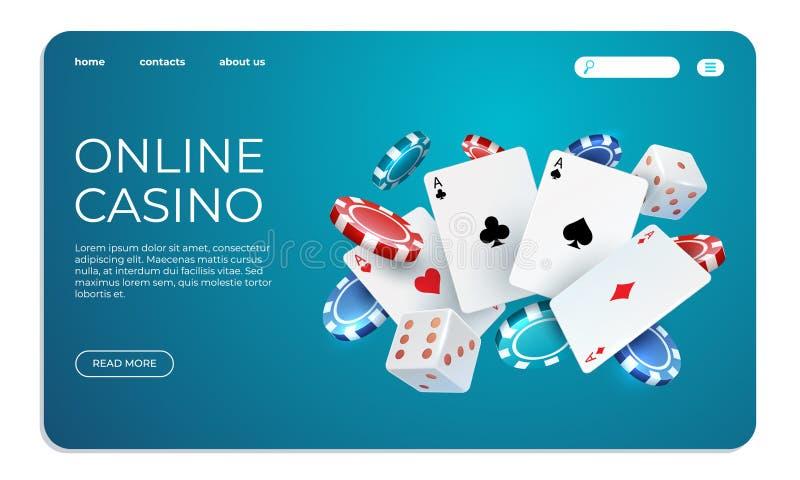 Casino en l?nea Plantilla de aterrizaje de la página de la web para el juego de póker de Internet Tarjetas del póker del vuelo de libre illustration