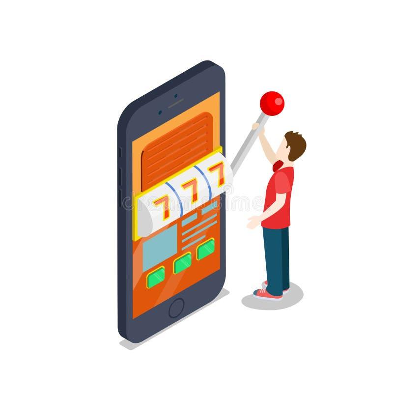 Casino en ligne 3d plat : téléphone de jeu de chance illustration stock