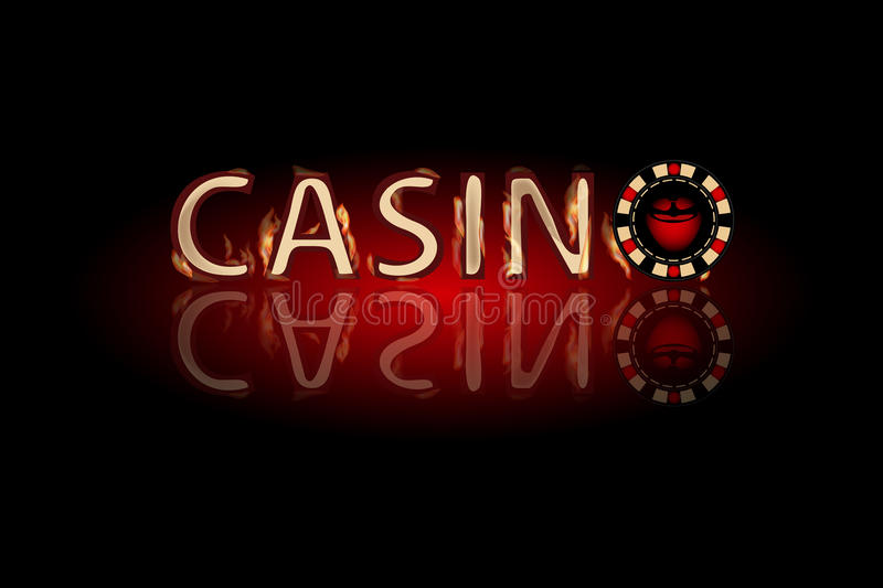 Casino fire text. chip on a dark background. Simple fashion symbol for web site design or a button for mobile applications. Logo Illustrations stock illustration