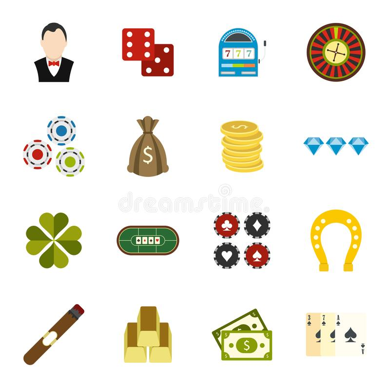 Casino flat icons royalty free illustration