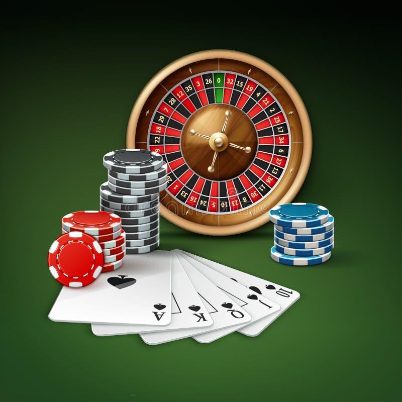 Casino gambling attributes vector illustration