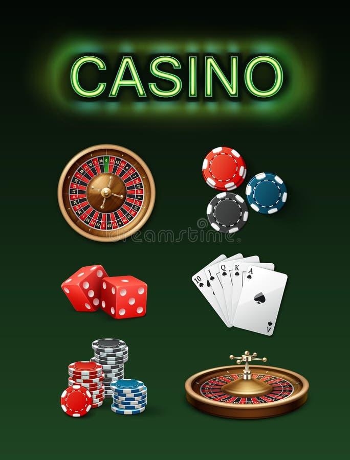 Casino gambling attributes royalty free illustration