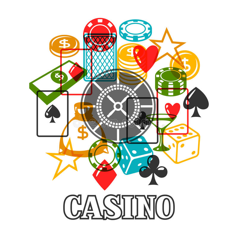 Casino gambling background design with game objects.  vector illustration