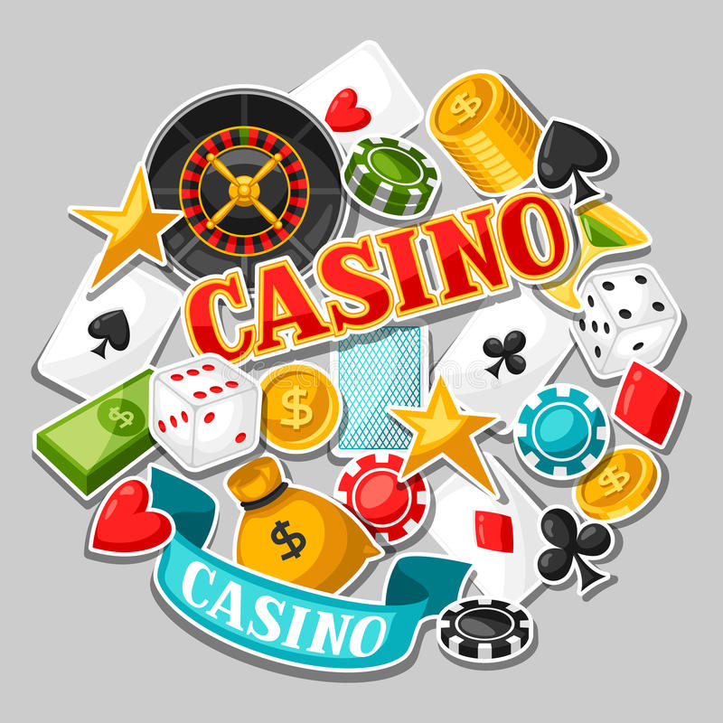 Casino gambling background design with game sticker objects.  stock illustration