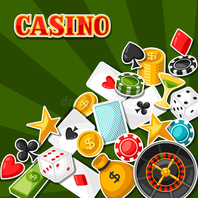 Casino gambling background design with game sticker objects.  royalty free illustration