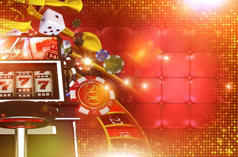 Casino Gambling Background. With Right Side Copy Space. 3D Rendered Casino Game Elements. Las Vegas Gambling Concept Backdrop Illustration stock illustration