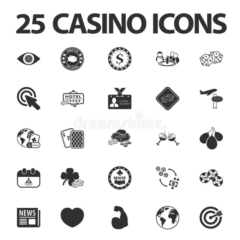 Casino, gambling 25 black simple icons set for web. Design royalty free illustration