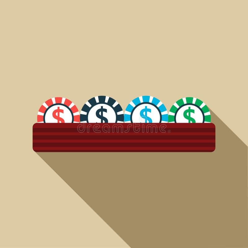 Casino gambling chips icon, flat style vector illustration