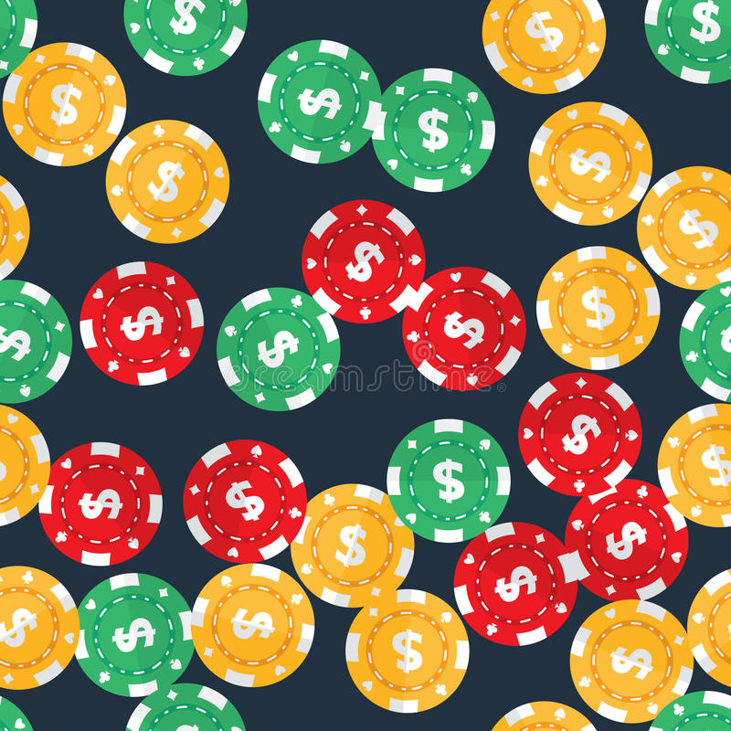 Casino gambling chips seamless pattern. Casino gambling chips randomly placed over dark solid background. Vector seamless pattern. Repeating texture in EPS8 stock illustration