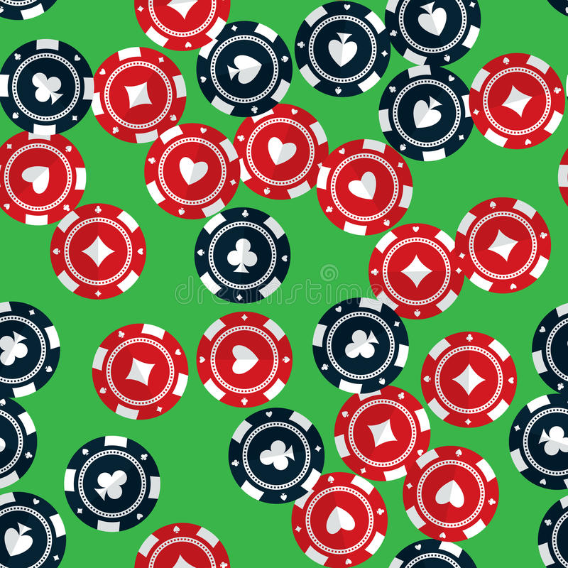 Casino gambling chips seamless pattern. Casino gambling chips randomly placed over green background. Vector seamless pattern. Repeating texture in EPS8 format vector illustration